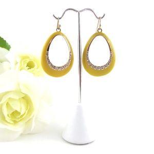 Jewelry - Yellow Crystal Waterdrop Gold Hook Earrings